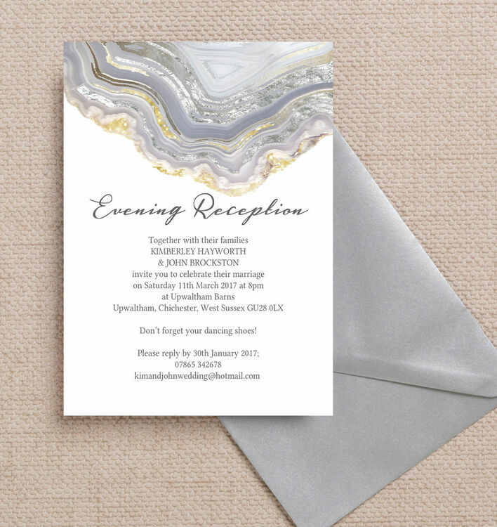 Agate Crystal Silver Grey Evening Reception Invitation from £0.85 each