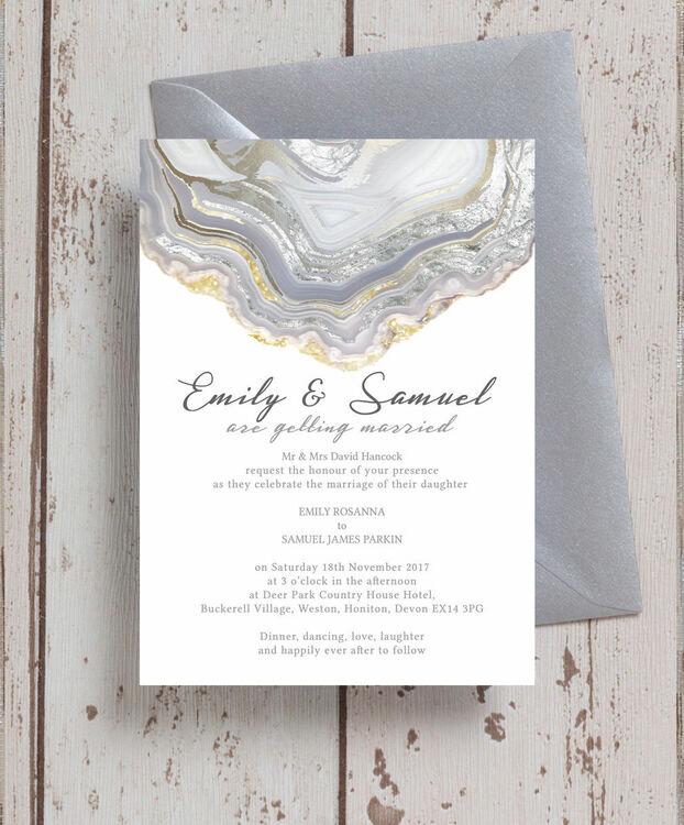 Agate Crystal Silver Grey Wedding Invitation From 1 00 Each