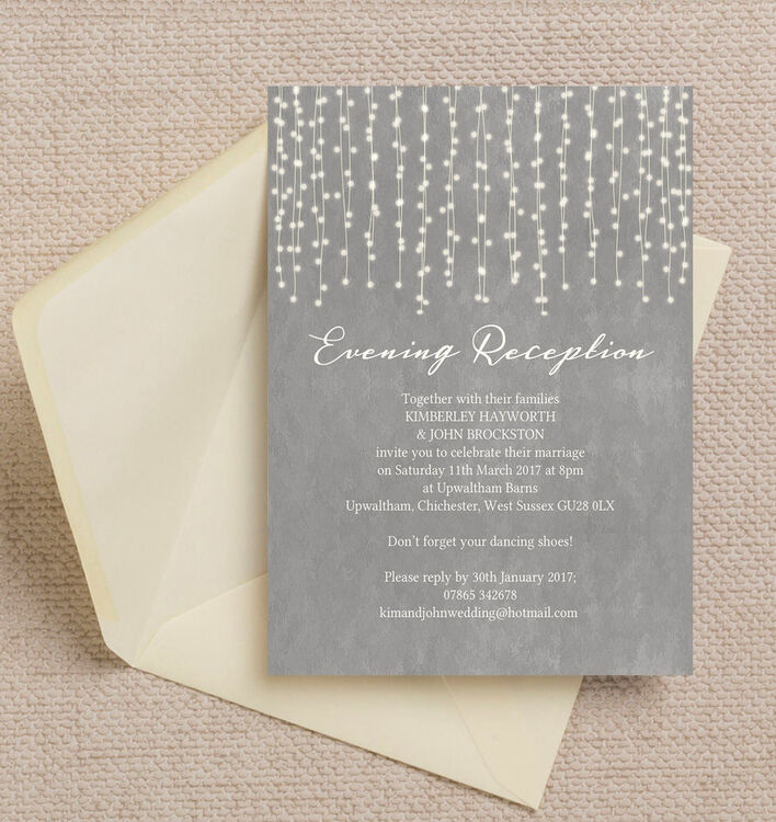 Dove Grey Fairy Lights Evening Reception Invitation from £0.85 each