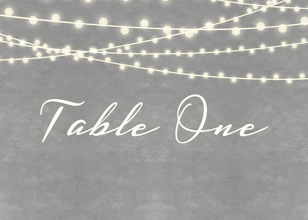 new product 2a2fe f884f Dove Grey Fairy Lights Table Name