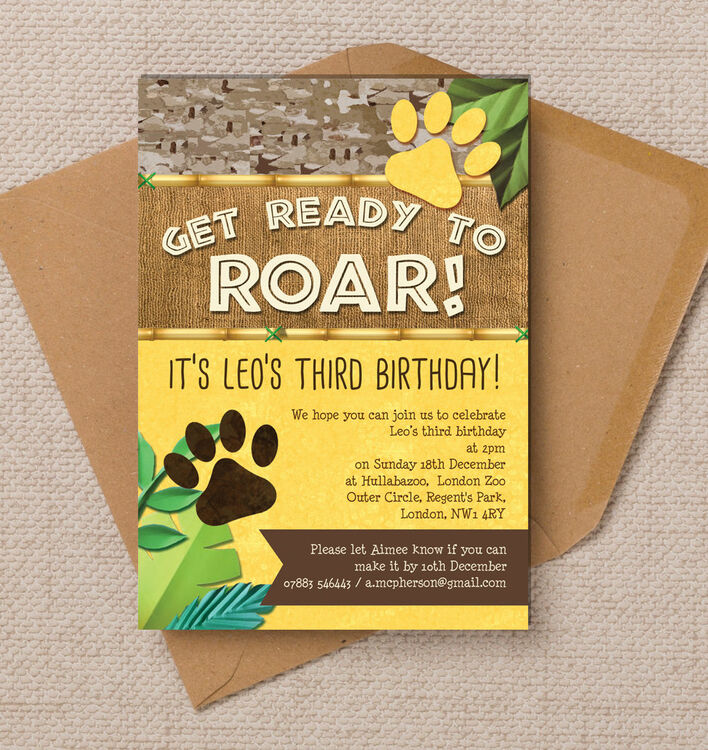 Printable Birthday Party Invitation Card Detroit Lions: Lion / King Of The Jungle Party Invitation From £0.80 Each