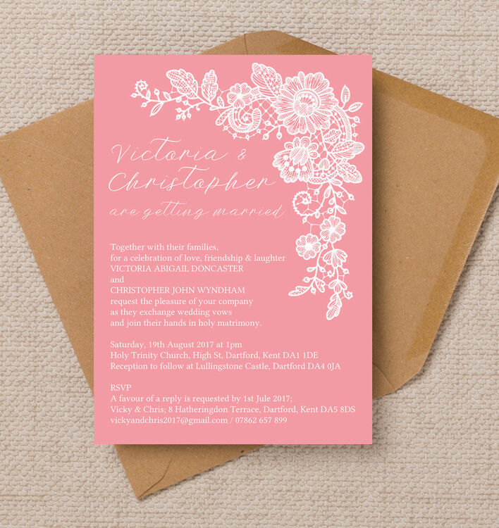Floral Lace Wedding Invitation from £1.00 each