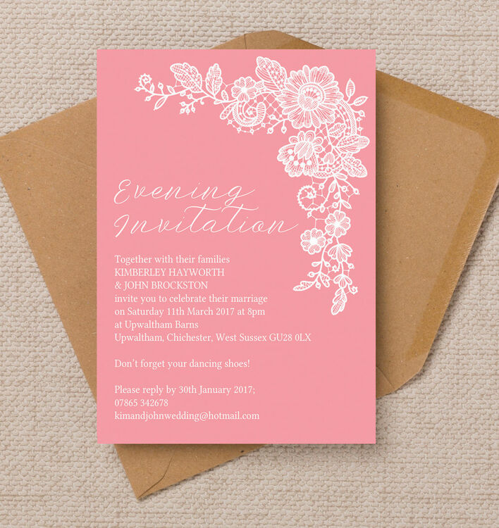 Floral Lace Evening Reception Invitation from £0.85 each