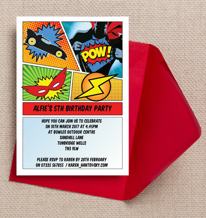 comic book superhero party invitation from  u00a30 80 each