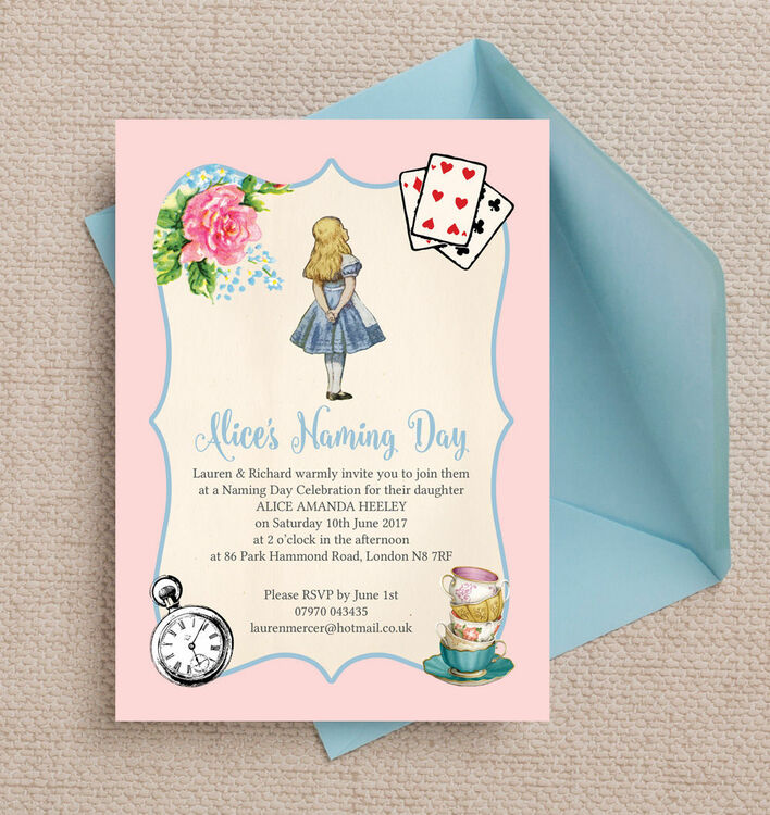 Alice in Wonderland Naming Day Ceremony Invitation from £0.80 each