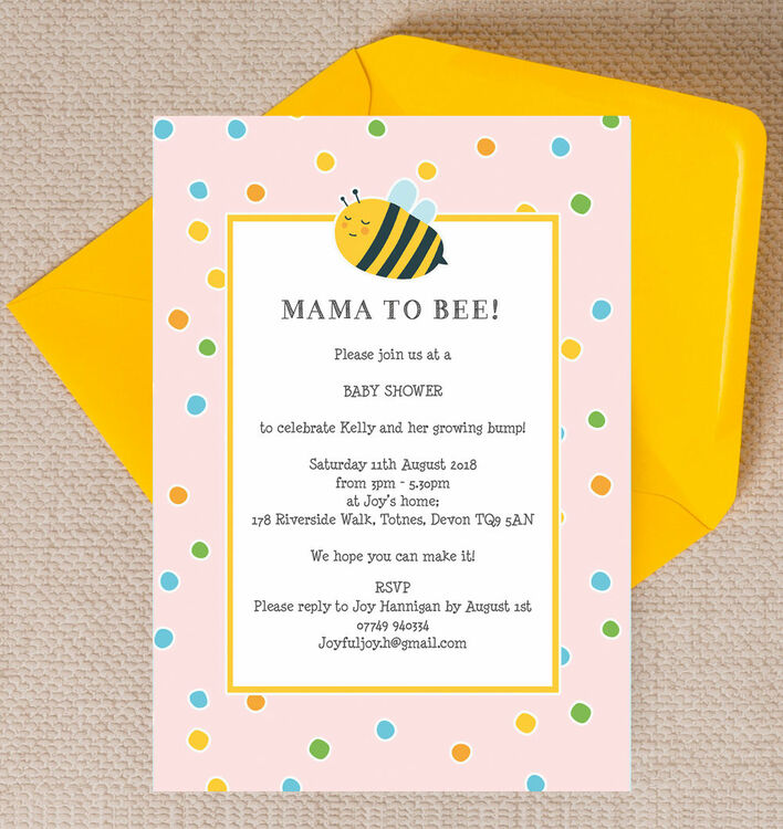 Bumble Bees Baby Shower Invitation - Pink from £0.80 each