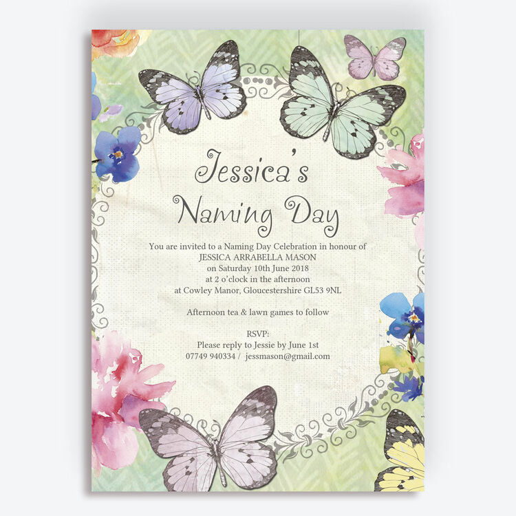 Butterfly Garden Naming Day Ceremony Invitation from £0.80 ...