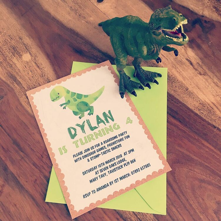 Dinosaur Kids Birthday Party Invitation