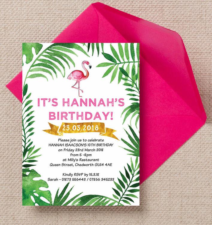 Flamingo Fiesta Birthday Party Invitation from £0.80 each