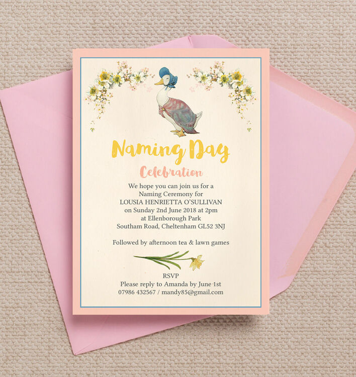 Jemima Puddle Duck Naming Day Ceremony Invitation From  Each