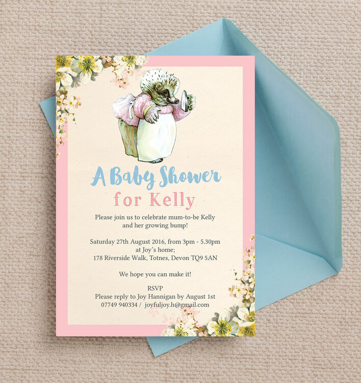 Mrs Tiggy Winkle Baby Shower Invitation from £0.80 each