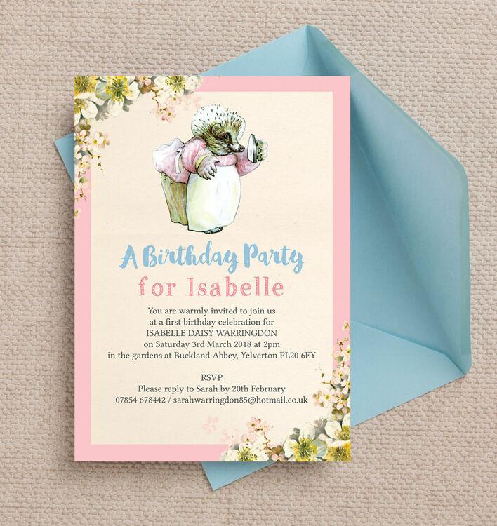 Mrs tiggy winkle birthday party invitation from 080 each mrs tiggy winkle birthday party invitation additional 3 filmwisefo Gallery