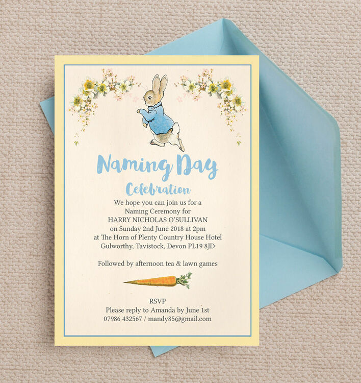 Peter Rabbit Naming Day Ceremony Invitation From  Each