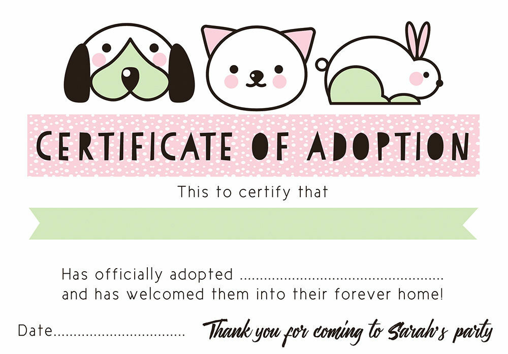 Pet rescue party pretend 39 adoption certificate 39 pink for Adoption certificate template