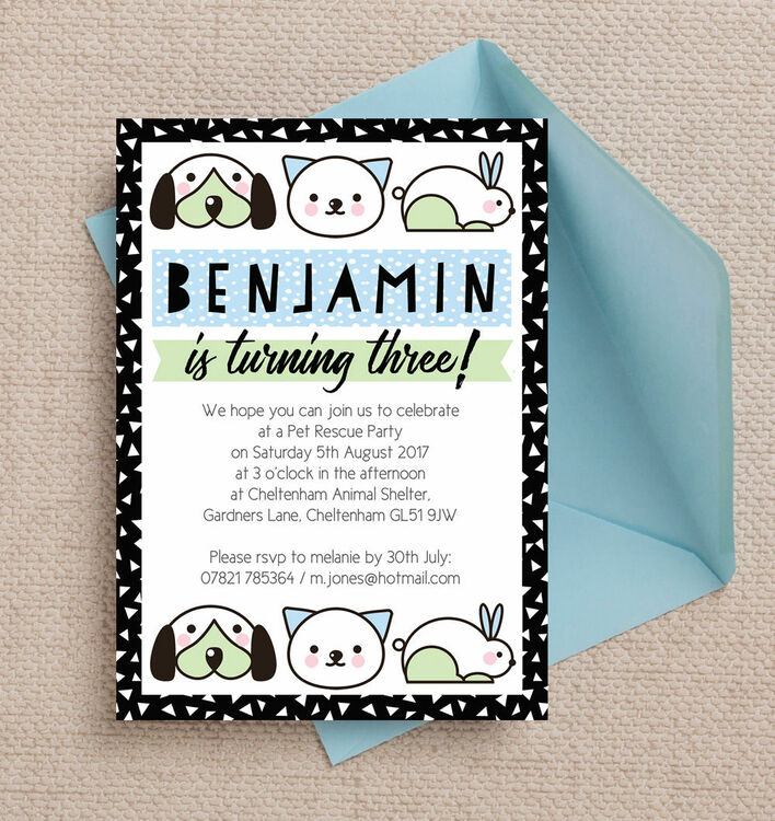 Pet Rescue Birthday Party Invitation - Blue from £0.80 each