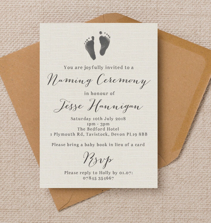 Rustic Calligraphy Naming Day Ceremony Invitation from £0.80 each