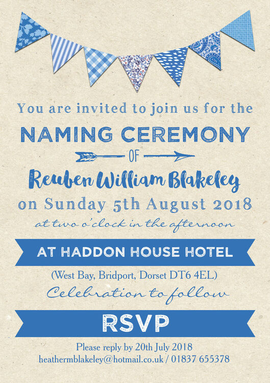 Captivating ... Blue Bunting Naming Ceremony Day Invitation Additional 2