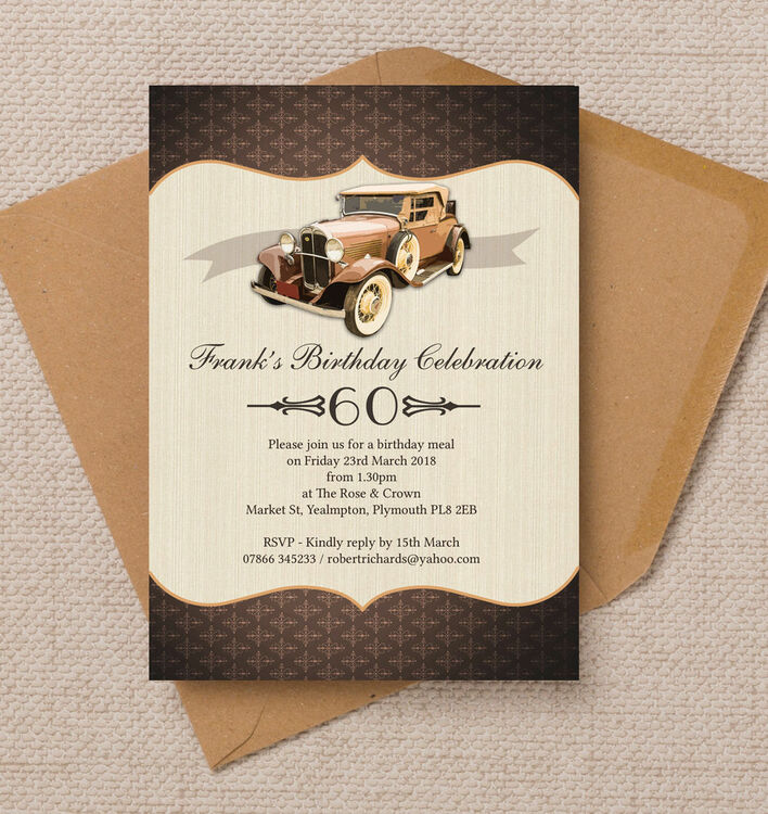 Vintage Car Birthday Party Invitation From 090 Each