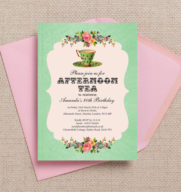 Vintage Afternoon Tea Themed Birthday Party Invitation