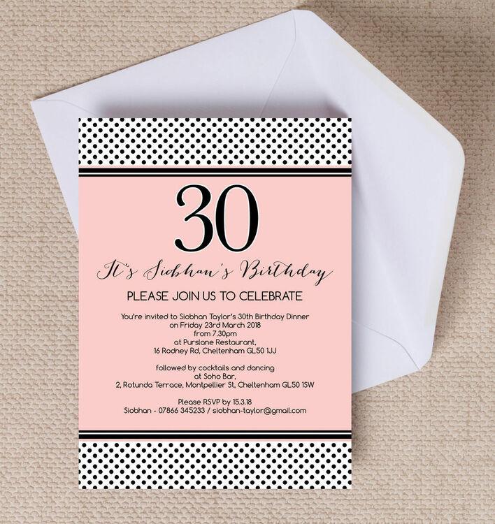 Blush Pink & Black Polka Dot Birthday Party Invitation from £1.00 each