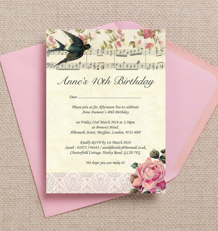 Vintage Scrapbook Style Birthday Party Invitation from £1.00 each