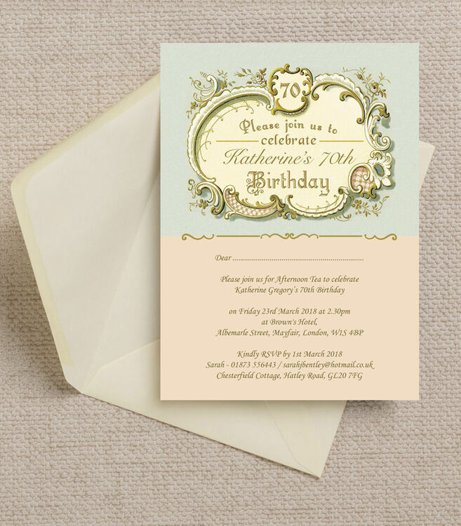 Antique Vintage Style Blue Peach Birthday Party Invitation
