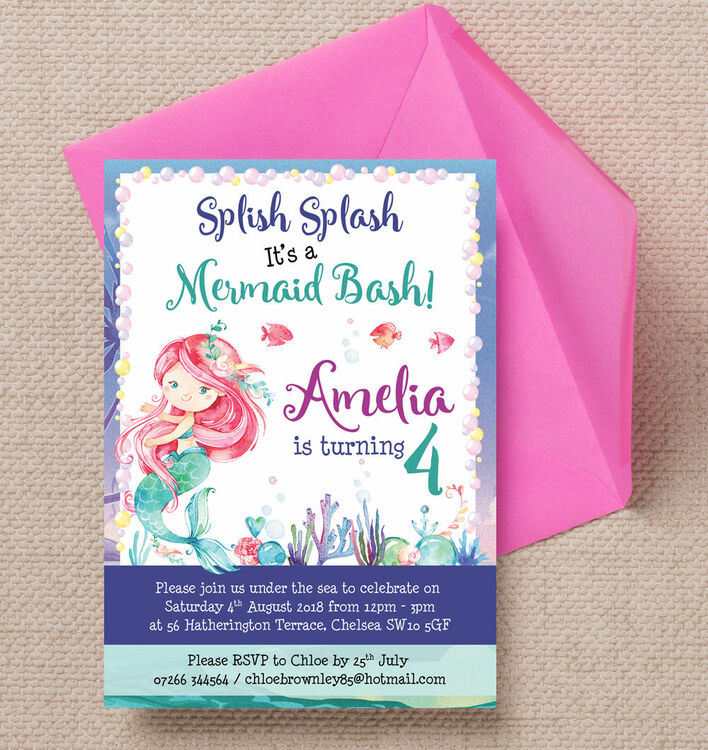 Mermaid Birthday Party Invitation Additional 1 2
