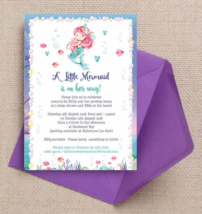 Mermaid Baby Shower Invitation Additional 1 Mermaid Baby Shower Invitation  Additional 2 ...
