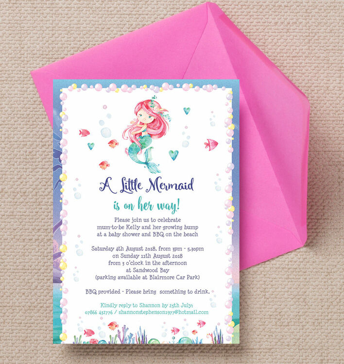 Mermaid Baby Shower Invitation from £0.80 each