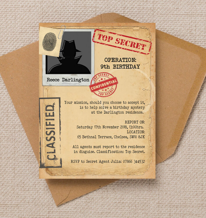 Spy Mission / Secret Agent Birthday Party Invitation from ...