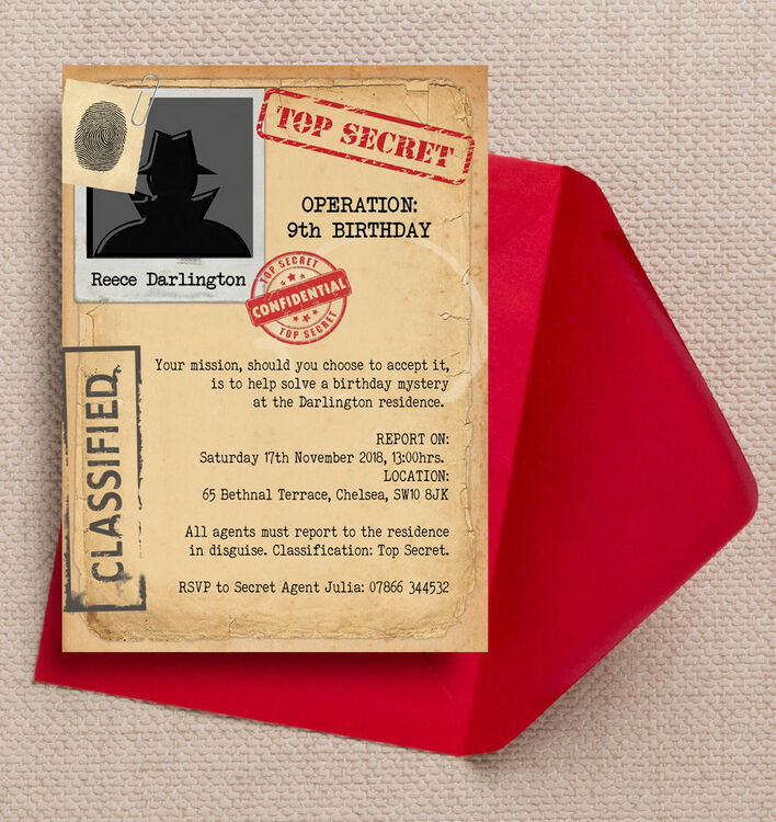 picture relating to Spy Party Invitations Printable Free titled Individualized Spy Mission / Top secret Consultant Birthday Occasion