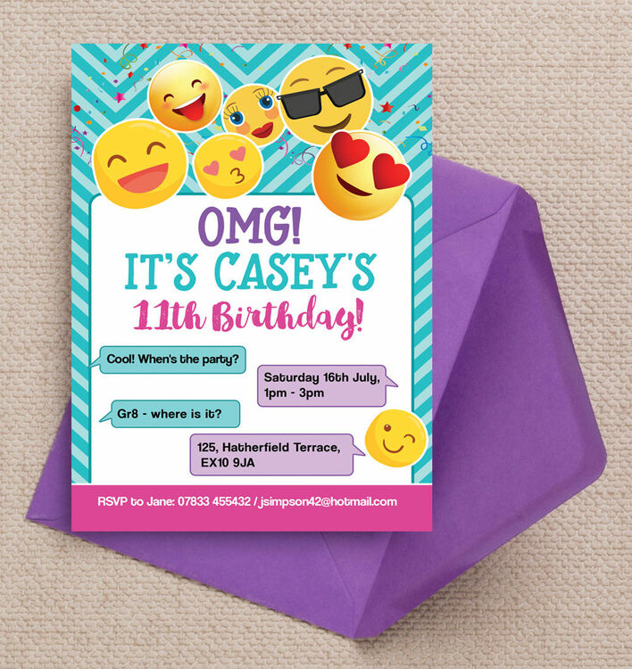 Emoji Themed Birthday Party Invitation from £0.80 each