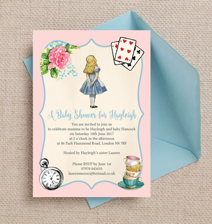 Pink & Blue Alice in Wonderland Baby Shower Invitation from £0.80 each