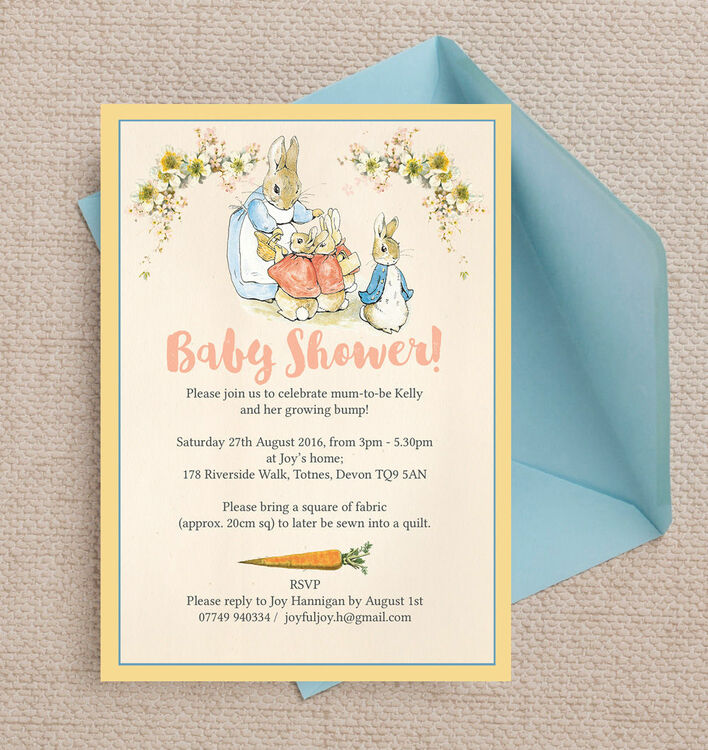 Flopsy Bunnies Beatrix Potter Baby Shower Invitation from £0.80 each