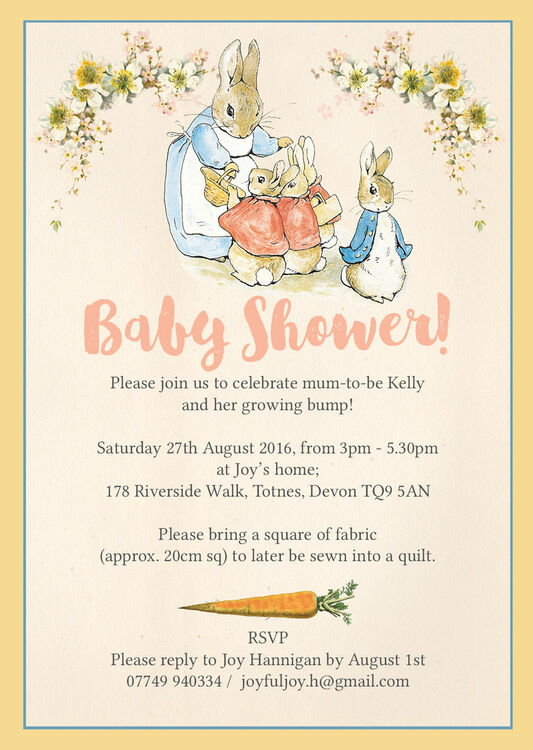 Flopsy Bunnies Beatrix Potter Baby Shower Invitation From 0 80 Each