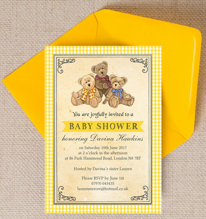 Teddy Bears\' Picnic Baby Shower Invitation from £0.80 each