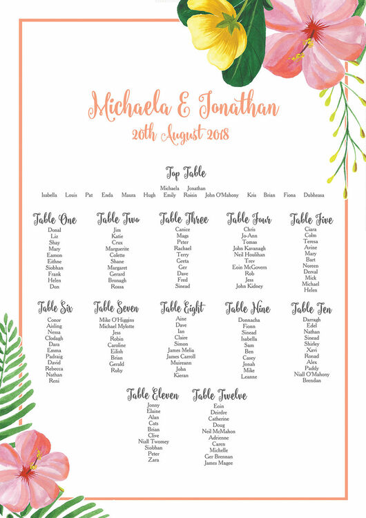 tropical hibiscus wedding table seating plan from 40 00 each