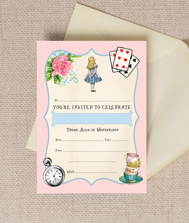 Pack Of 10 Pink Blue Alice In Wonderland Party Invitations From