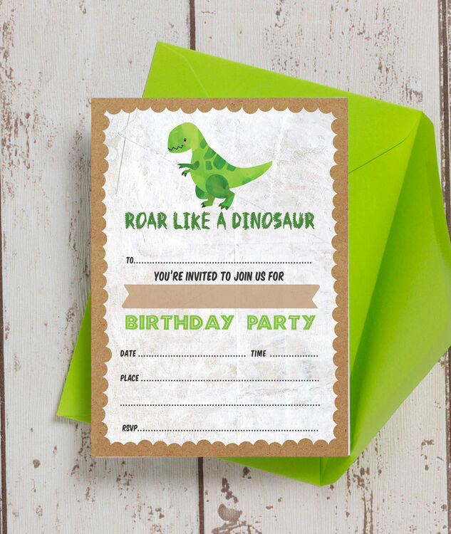 Pack Of 10 Dinosaur Themed Party Invitations