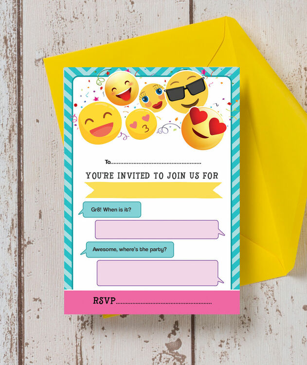 Pack Of 10 Emoji Themed Party Invitations From 699 Each