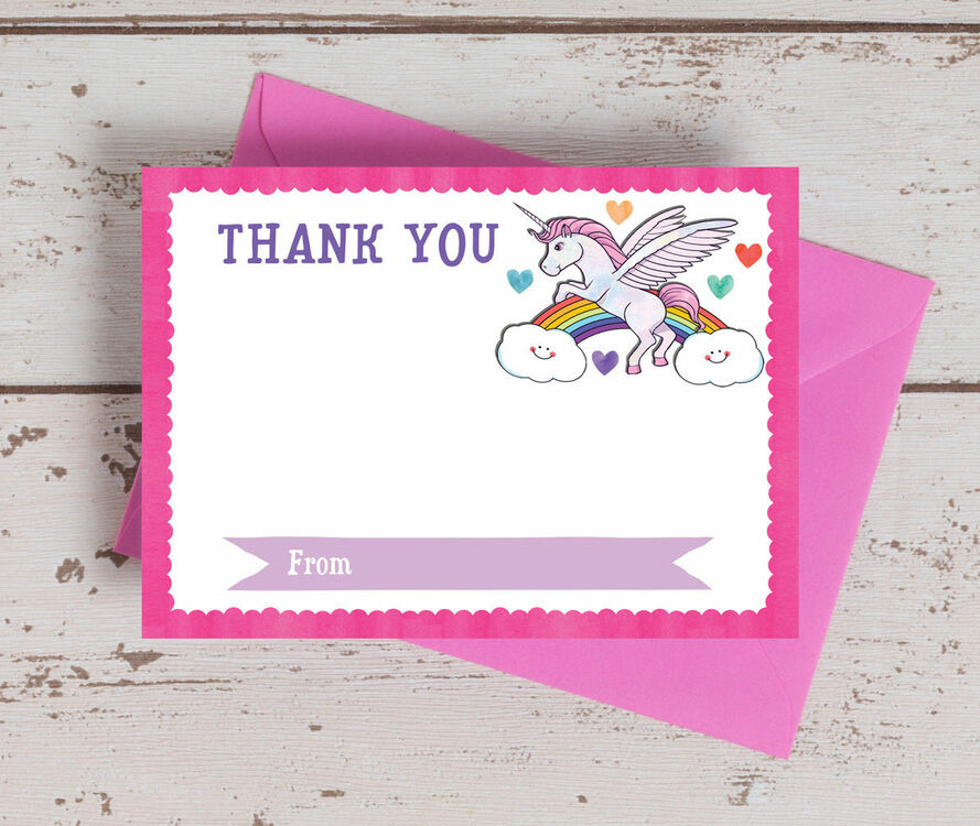 Pack Of 10 Rainbow Unicorn Thank You Cards Non Personalised From
