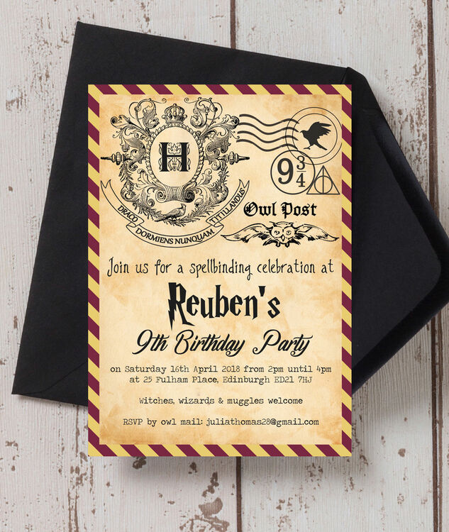 witches  u0026 wizards birthday party invitation