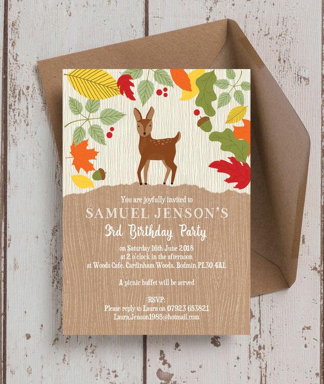 Woodland Animals Birthday Party Invitation Additional 3