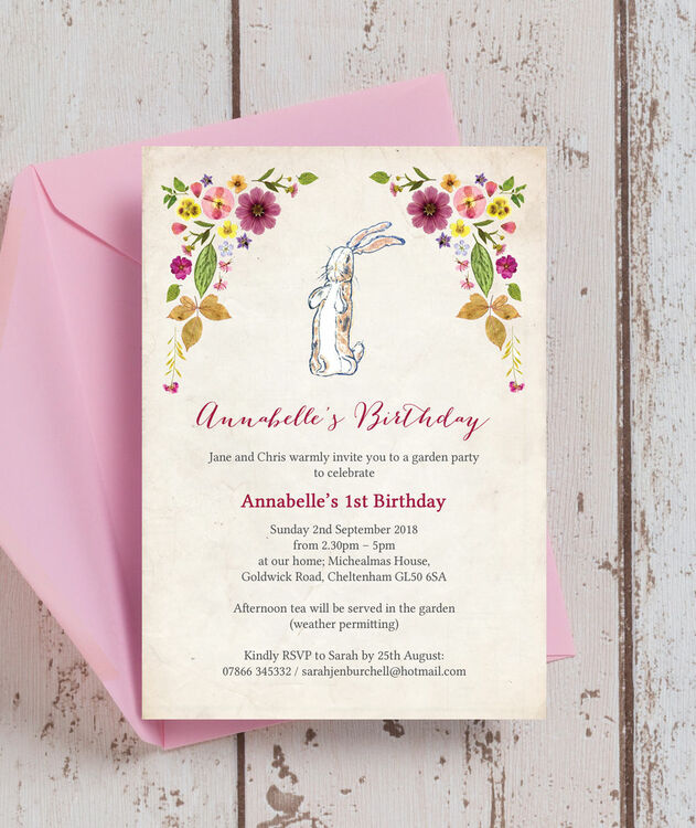 velveteen rabbit birthday party invitation from 0 80 each