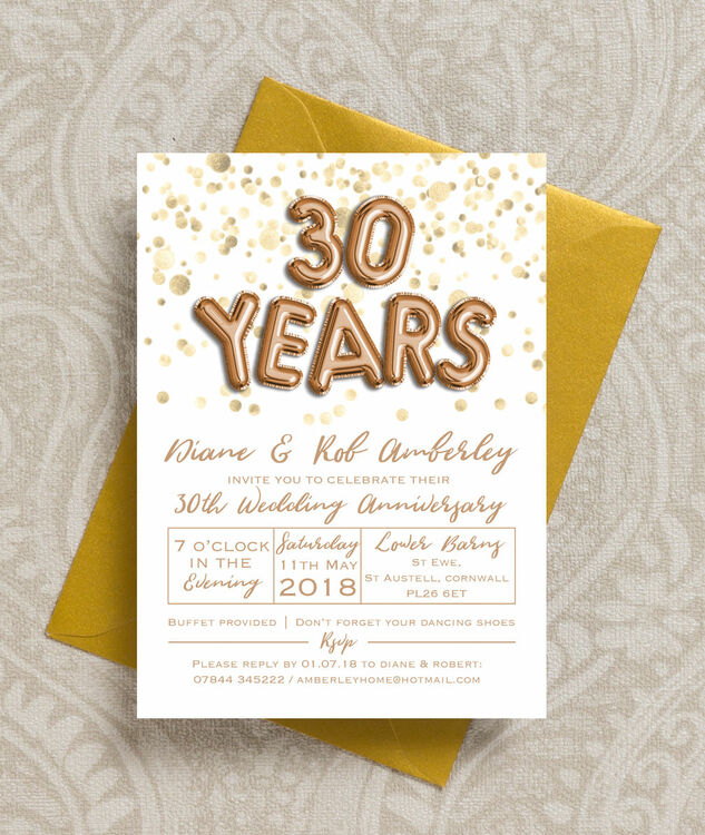 Gold Balloon Letters 30th / Pearl Wedding Anniversary Invitation ...