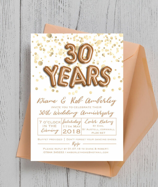 Gold balloon letters 30th pearl wedding anniversary invitation gold balloon letters 30th pearl wedding anniversary invitation additional 4 stopboris Choice Image