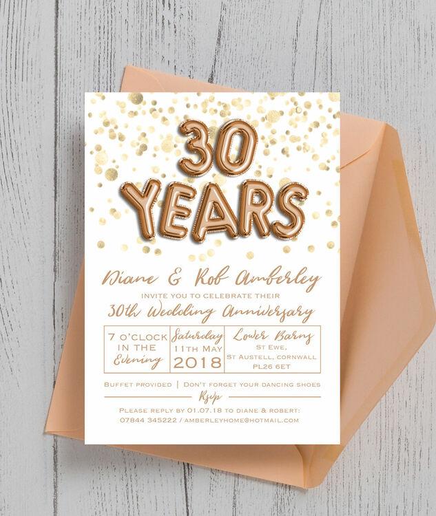 30th Wedding Anniversary Invitations: Gold Balloon Letters 30th / Pearl Wedding Anniversary
