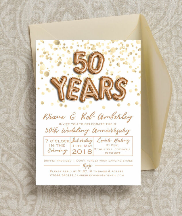 Gold balloon letters 50th golden wedding anniversary invitation gold balloon letters 50th golden wedding anniversary invitation additional 4 stopboris Image collections