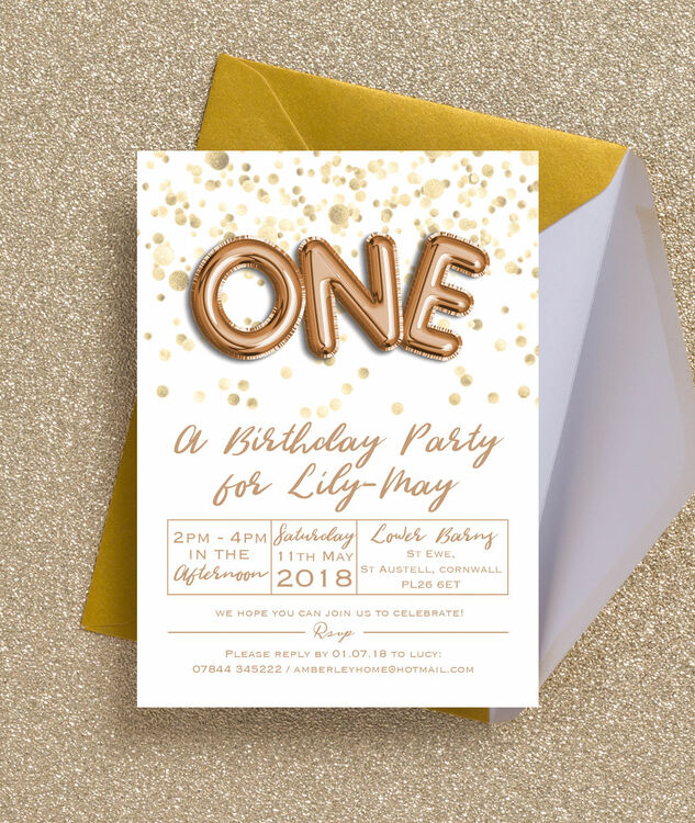 gold balloon letters birthday party invitation from 0 80 each