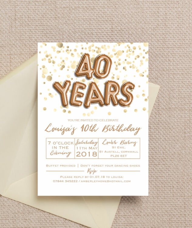 Gold balloon letters 40th birthday party invitation from 090 each gold balloon letters 40th birthday party invitation additional 3 thecheapjerseys Choice Image